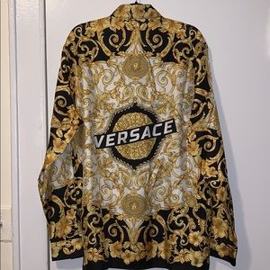 Versace Shirts - Versace Gold Hibiscus Print Long Sleeve Shirt